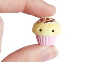 Chocolate Strawberry Cupcake Charm- Polymer Clay by RawrRufus