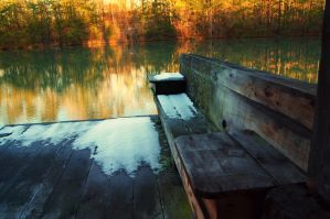 A Bench By The Lake by Little-Wolff