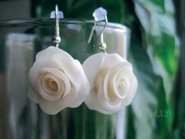 Earrings Middle White roses by NastasiaHands