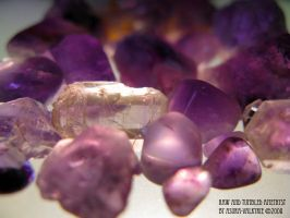 Raw and Tumbled Amethyst by Asura-Valkyrie