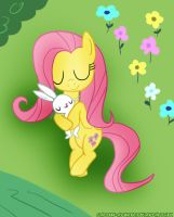 Fluttershy and Angel Bunny Sleeping by Cartoon-Admirer