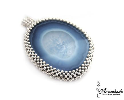 Agate and silver - necklace by Amambada