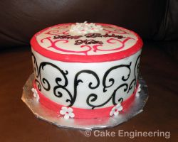 pink and black swirl cake by cake-engineering