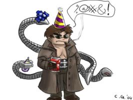 Doctor Octopus in a party hat by yang