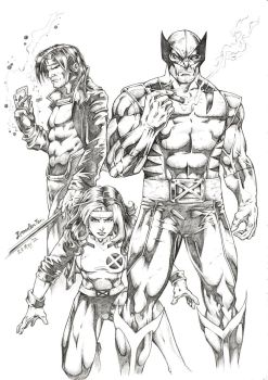 X-Men's Wolverine, Rogue and Gambit by BrendanPark