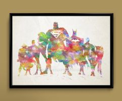 justice league watercolor by ColourInk