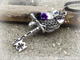 Purple Owl Key- Available April 3rd by ArtByStarlaMoore