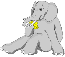 Elephant eating cheese by SpacePirateCaine