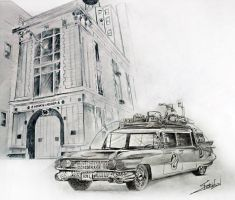 Ghostbusters with building and car by ChrisRobinsonsArt
