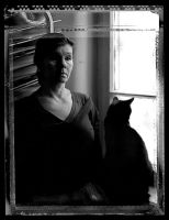 Iza and cat by vidi