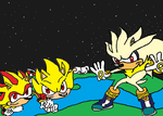 Super Sonic, Super Shadow, and Super Silver by tanlisette