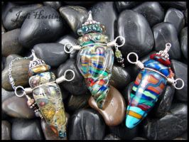 Glass Lampwork Vessel Bottles by andromeda
