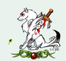 Okami Amaterasu and Issun by singham-wilk