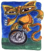 Kitty on Unicycle by Starstew