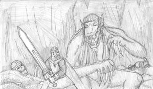 Beowulf fights Grendel's Mother by DWestmoore