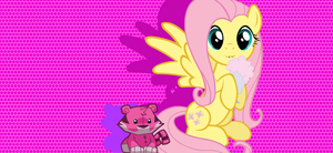 fluttershy with a plushie by shadowandtwilight