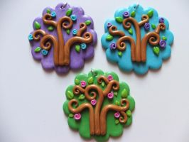 Spring swirly trees medallions by Libellulina