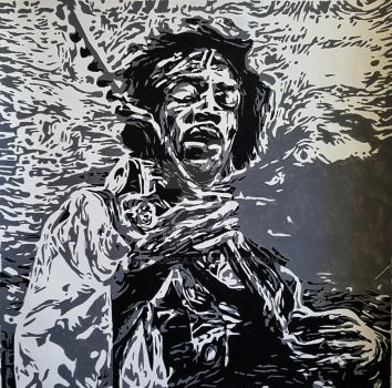 Hendrix Painting Acrylics by mantronica