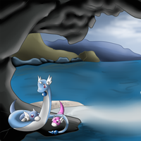 A Mother and her Children in Paradise by Inkqubus