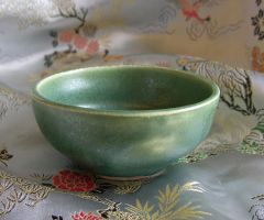 Frosted Emerald Tea Bowl by CorazondeDios