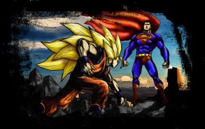 SSJ3 Goku Vs Superman by Byo2010