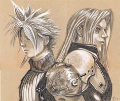 Cloud and Sephiroth by xtinocox