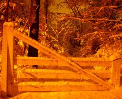 Fence after snowfall at night by JDOPhoto