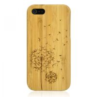 Hand Carved Bamboo iPhone 5 Case -Dandelion by tracylopez
