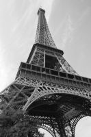 eiffel tower black and white by kookyfred