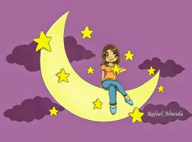 Girl in the moon of stars by ryster17