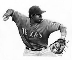 Elvis Andrus by DFitchPencilArt
