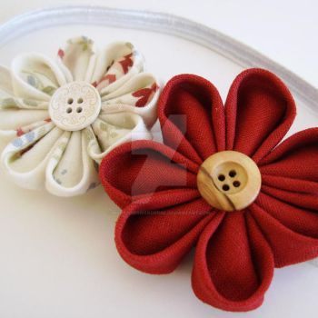 Fabric flowers white headband by MadelinesWardrobe
