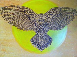 Celtic Owl Painting by IrishBecky