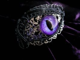 Dragon Eye - Silver Lace Smoke Wire Bracelet by LadyPirotessa