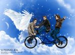 SPN fanart Winchesters/Castiel 'Walk-in-the-Air' by noji1203