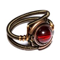 Steampunk Ring Red by CatherinetteRings