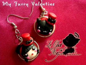 Lunie Pru -  Mio Miao Earrings by LeChatNoirHandMade