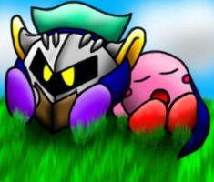 Meta Knight and Kirby by papersak