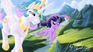 Princess Celestia And Young Twilight Sparkle by JoshCraven
