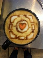 Companion Cube Latte by Coffee-Katie