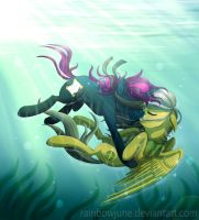 Under Water - Daring Do and Vanisher by Omega-Wing