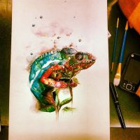 Chameleon Watercolor by DickinAround