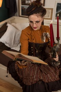[STOCK] Reading Steampunk Girl with candles 1 by AyraLeona
