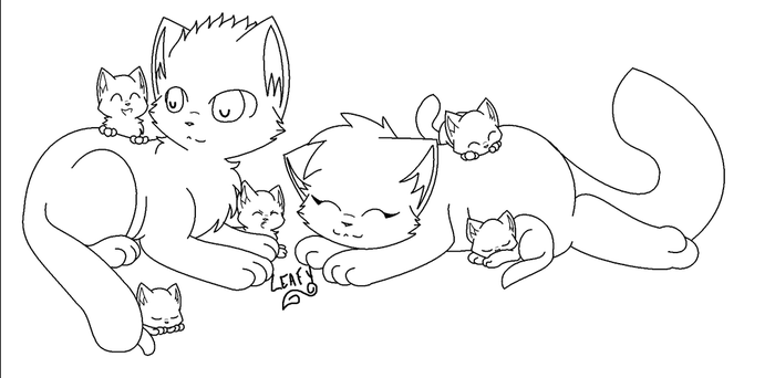 Cat family lineart REDO by leafstep