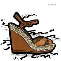 Brown Wedge with strap in Oil paint by Maellanie