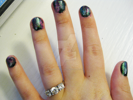 Galaxy Nails by Sugary-Stardust