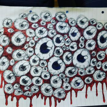 Bloody eyes / quick school drawing ^^ by ScattyMisfit