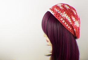 Red and White Crochet Beret Hat by Ashler-Sauce
