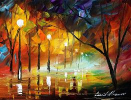 Dying night by Leonid Afremov by Leonidafremov