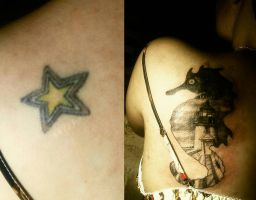 Seahorse Lighthouse (cover-up tattoo) by skept11
